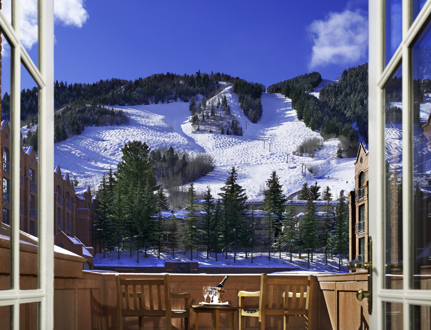 St. Regis Aspen Resort balcony snow mountain view