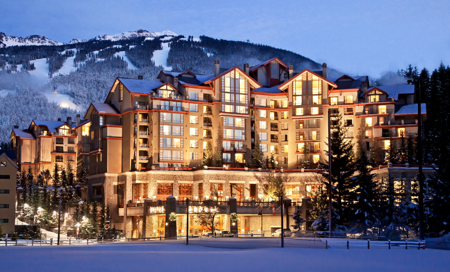 Westin Resort Whistler exterior in snow winter