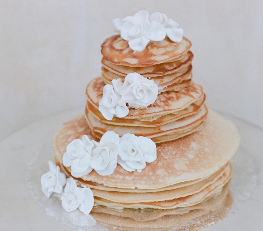 Unique small pancake wedding cake