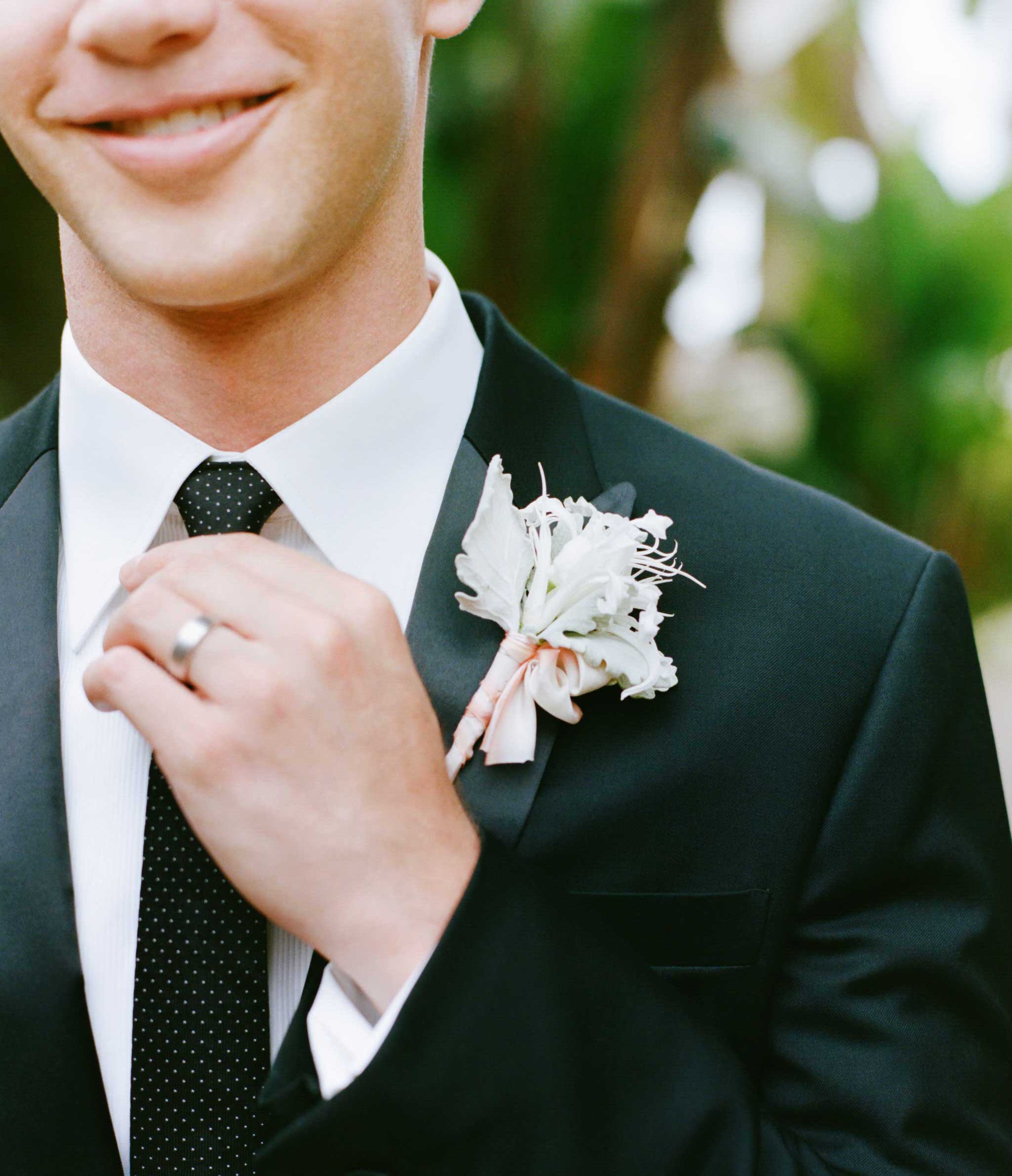 Dusty miller soft color wedding boutonniere