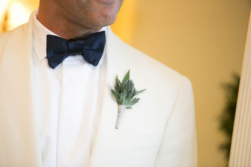 Thistle and greenery boutonniere