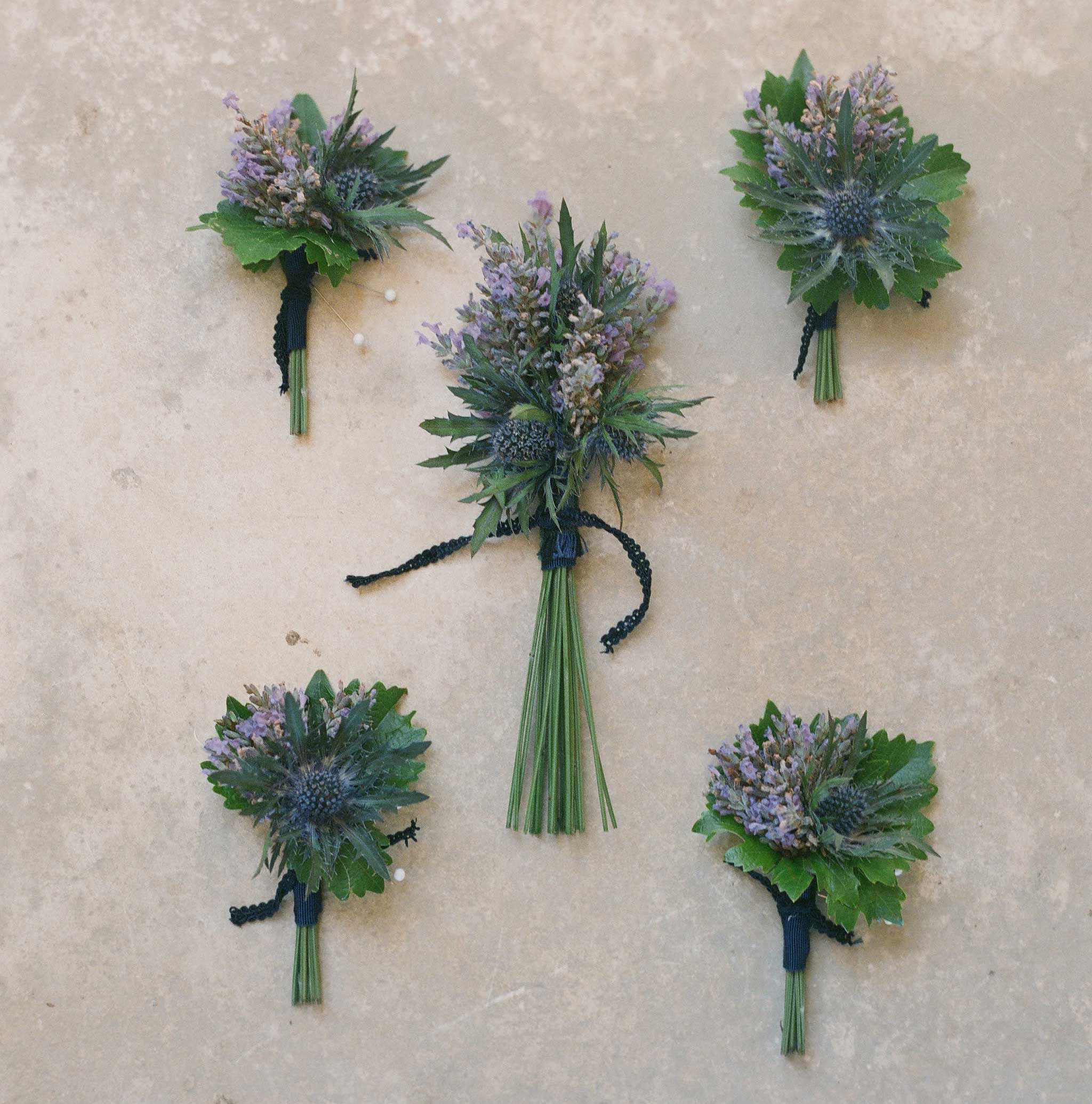 Purple and green flowers wedding boutonniere
