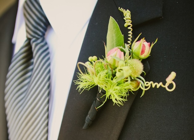 Whimsical lime green wedding boutonniere