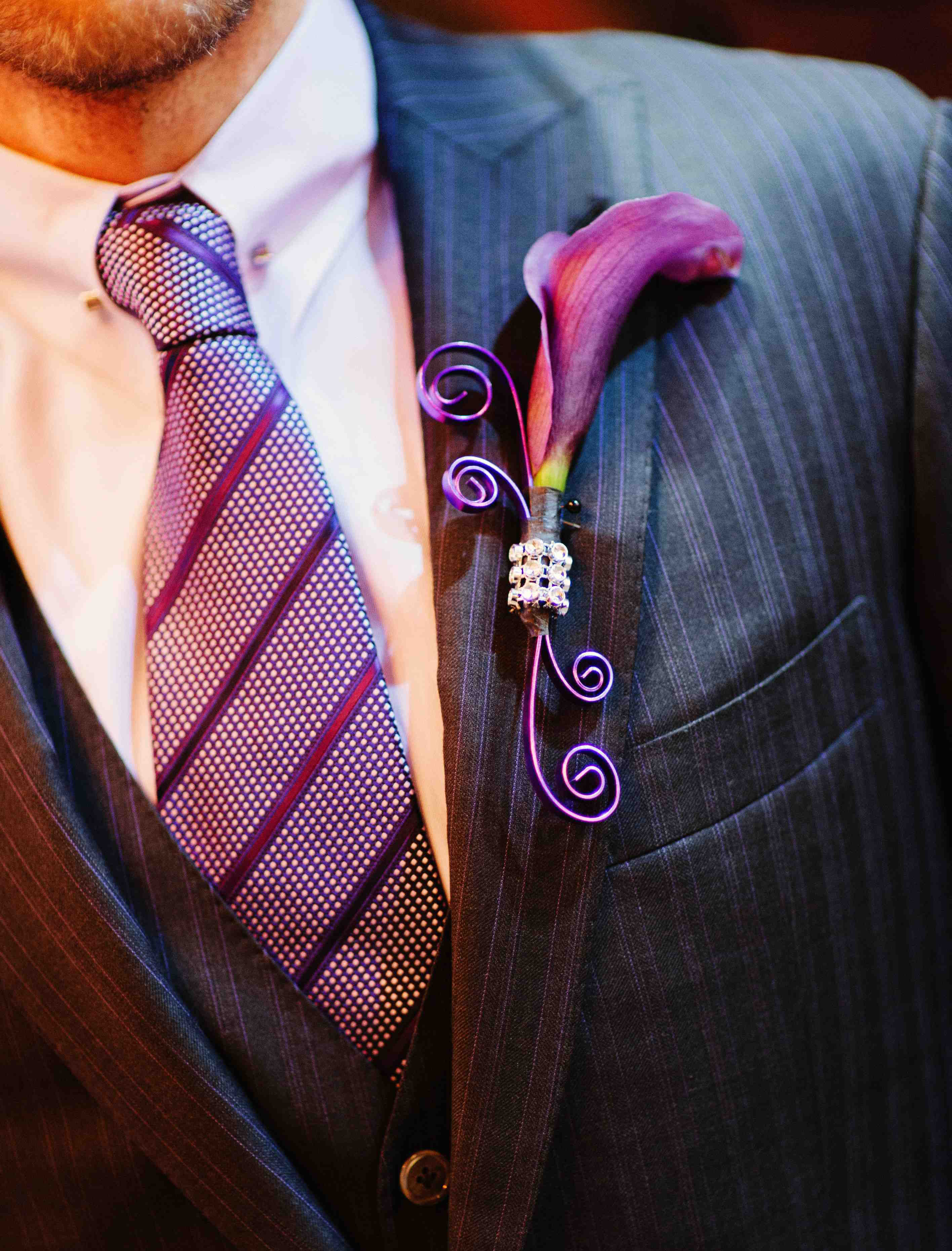 Shaun T wedding boutonniere with purple calla lily