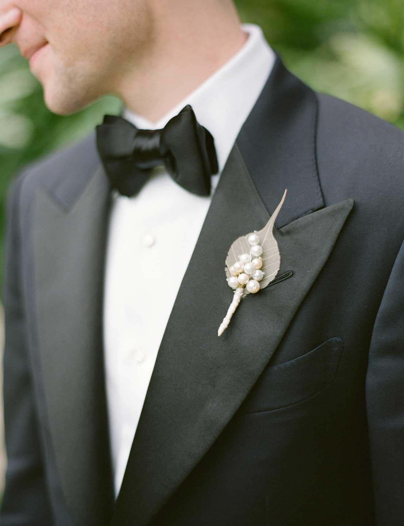 Winter wedding leaf boutonniere