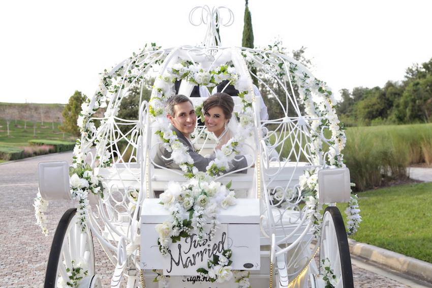 Cinderella inspired carriage wedding transportation