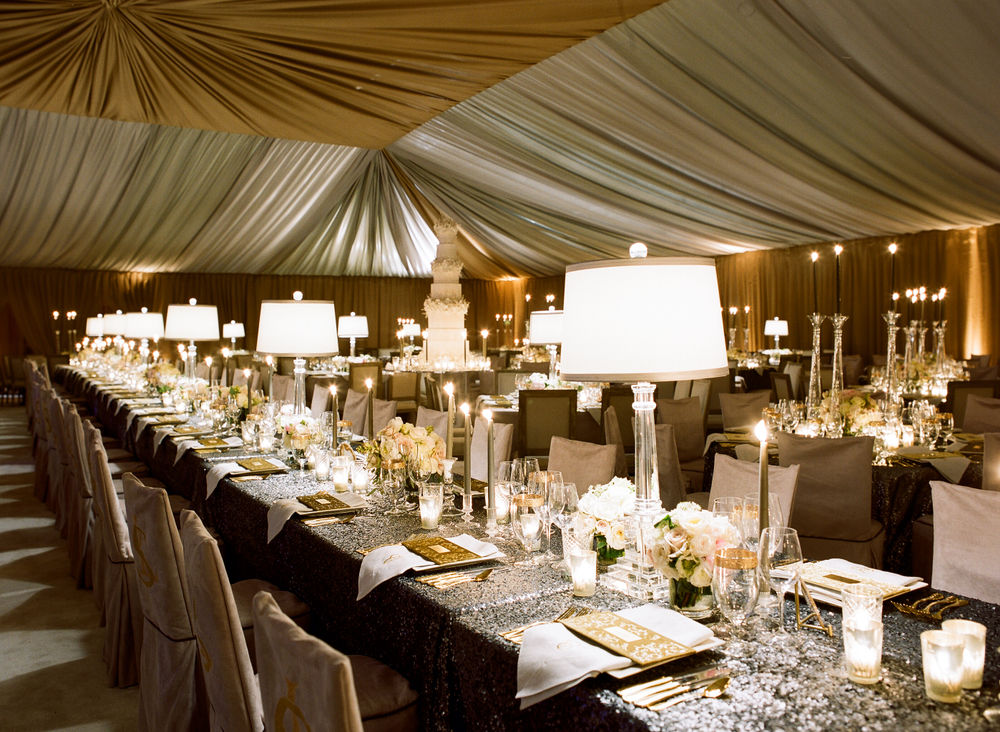 lampshade centerpieces on gold and silver table