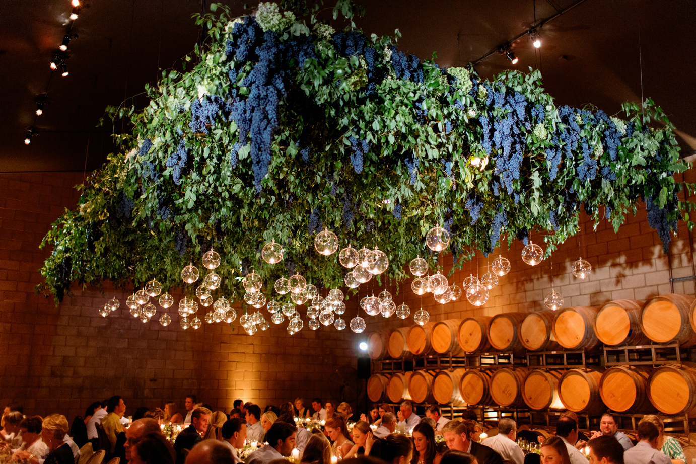 lighting fixture of grapes and candles