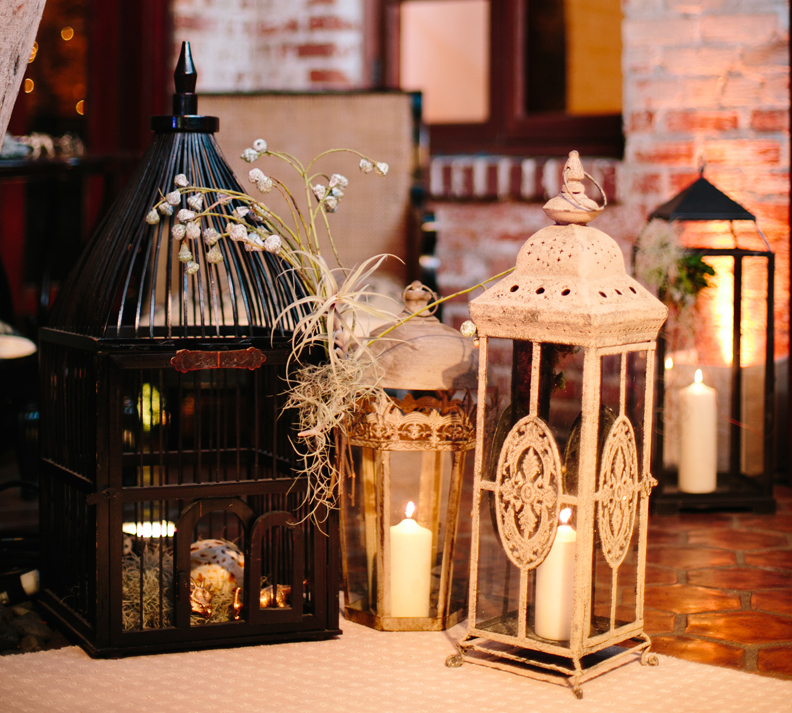 rustic lanterns lit with candles