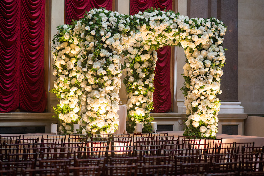White and green flower ceremony structure