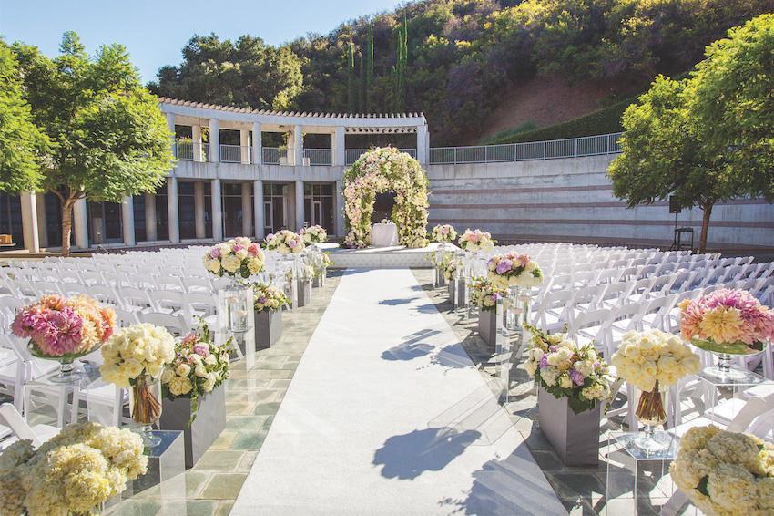 Skirball Cultural Center outdoor wedding ceremony