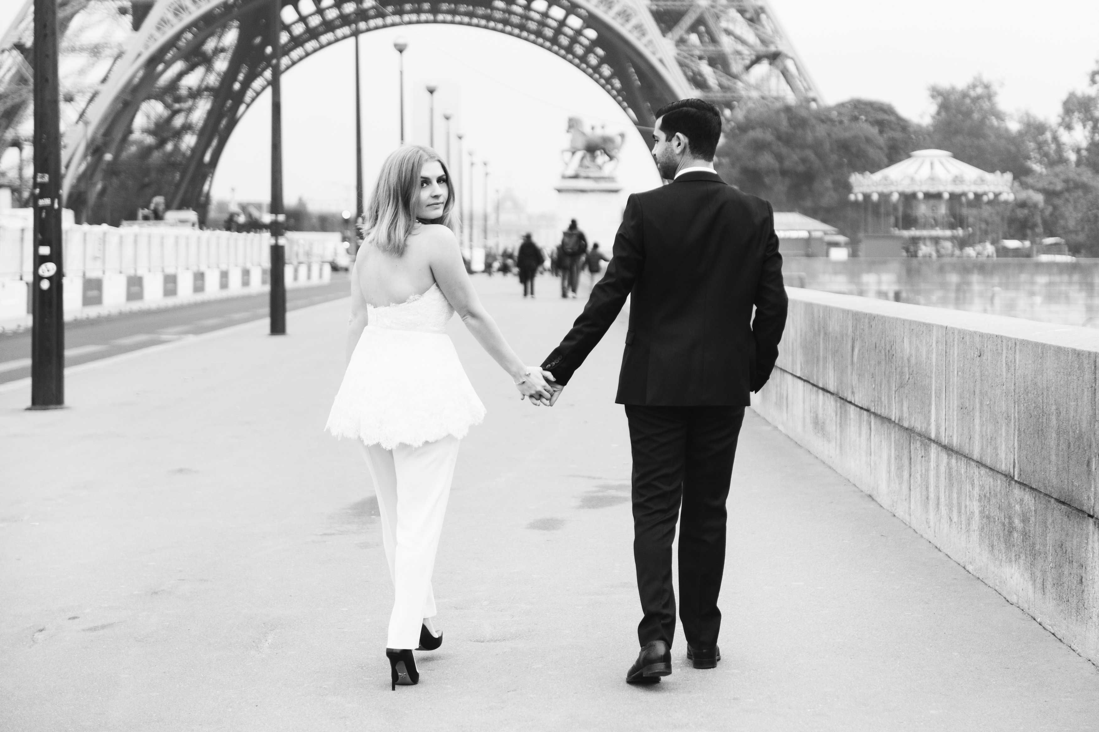 Black and white photo of Sabrina Dahan engagement session