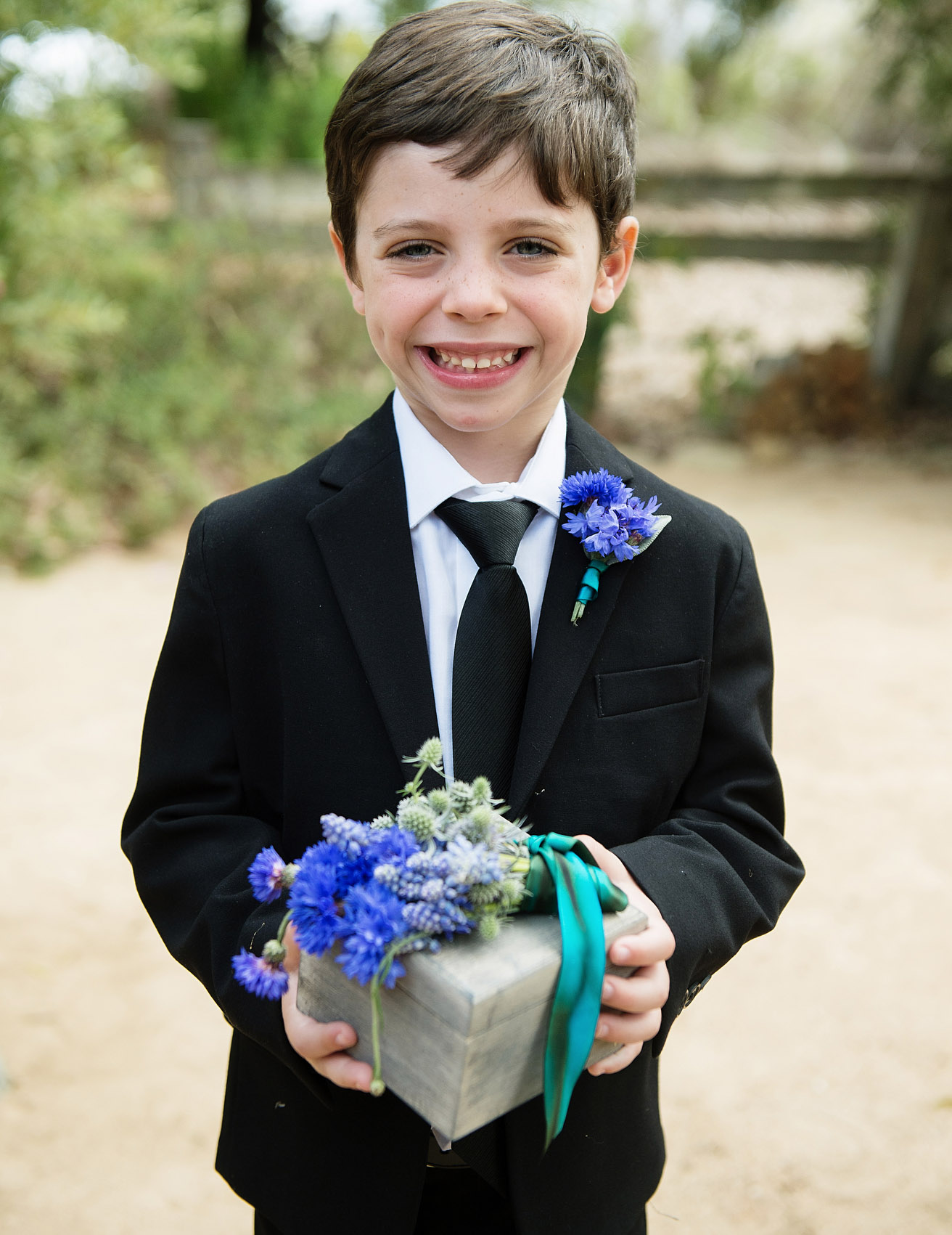 ring bearer suit blue flowers