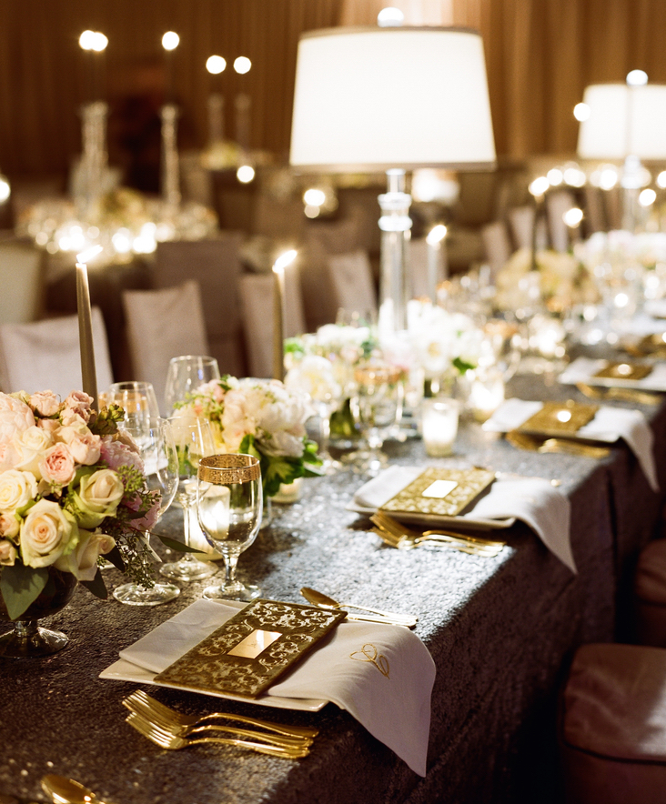 Sequin wedding table and gold flatware