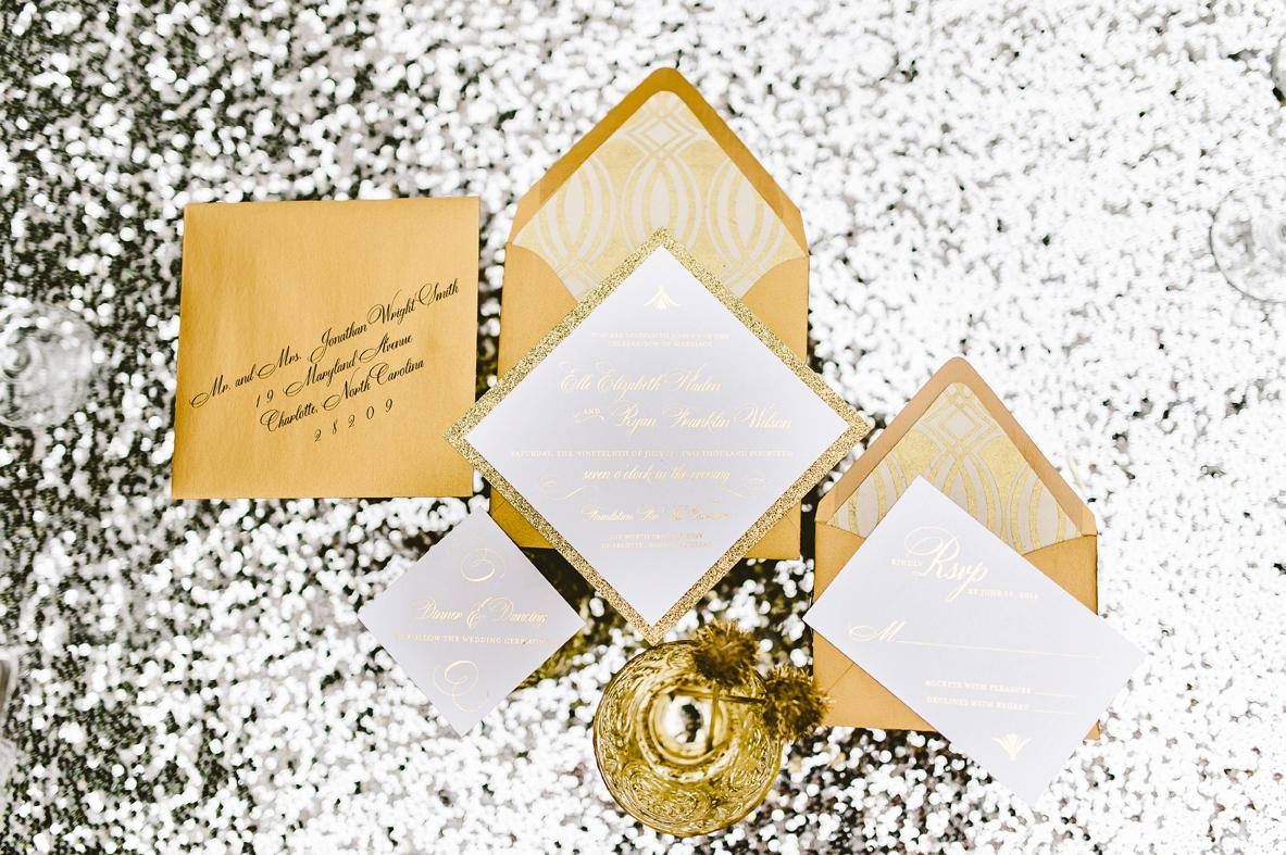 gold sparkle wedding invitations
