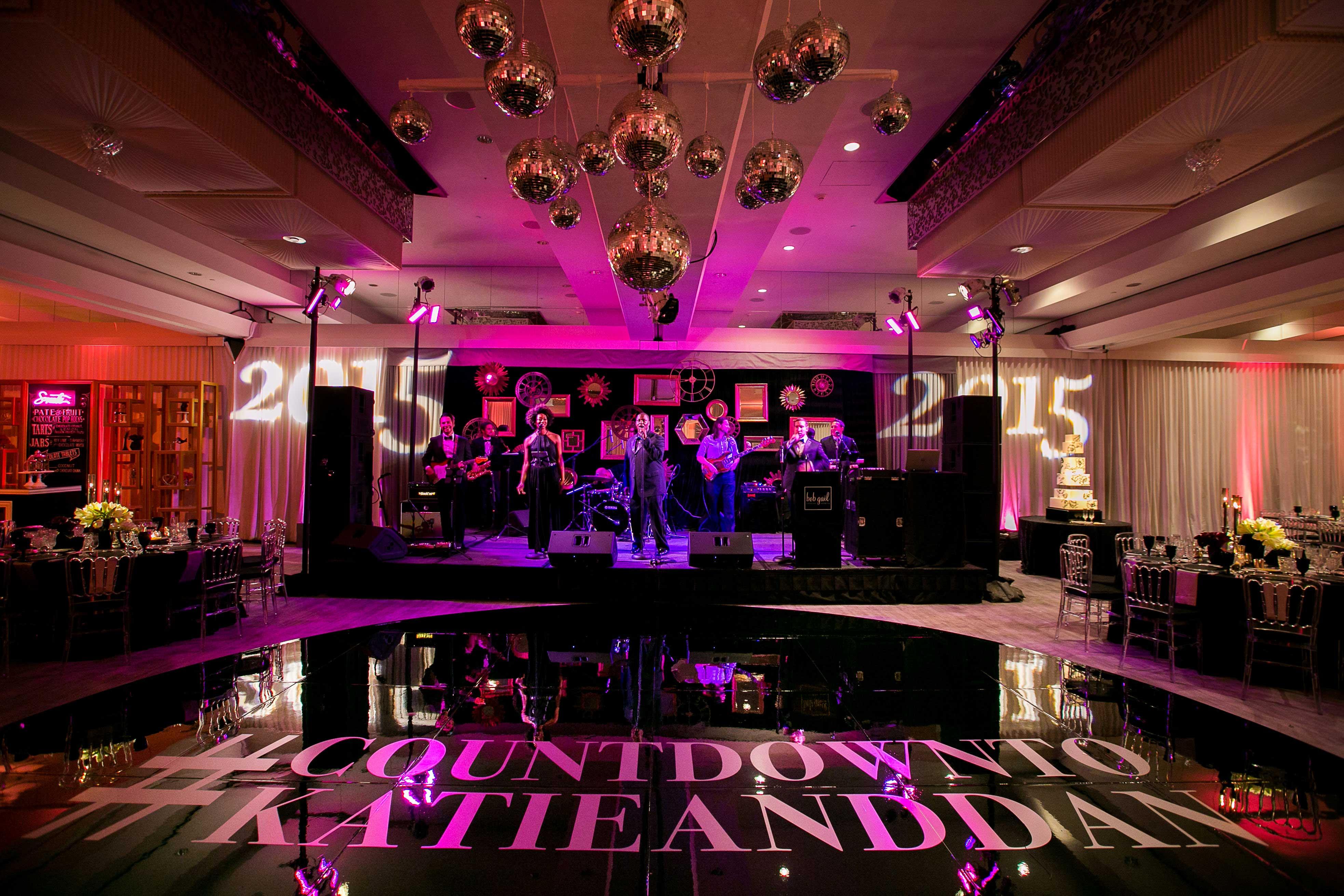 New Year's Eve dark wedding reception