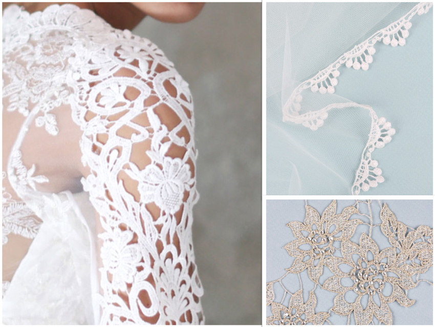 Guipure wedding lace examples courtesy of Claire Pettibone