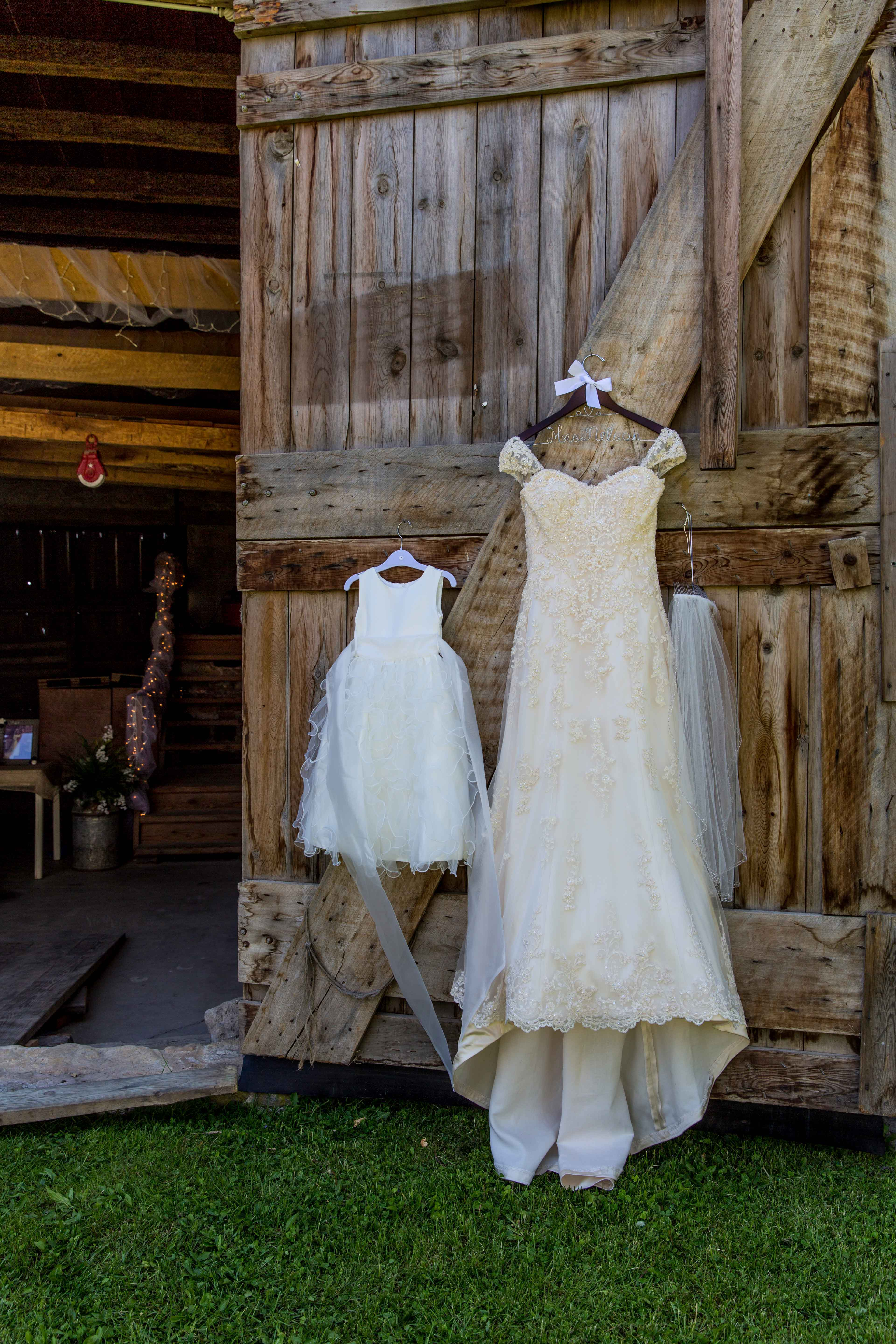 Wedding dress on barn wedding door