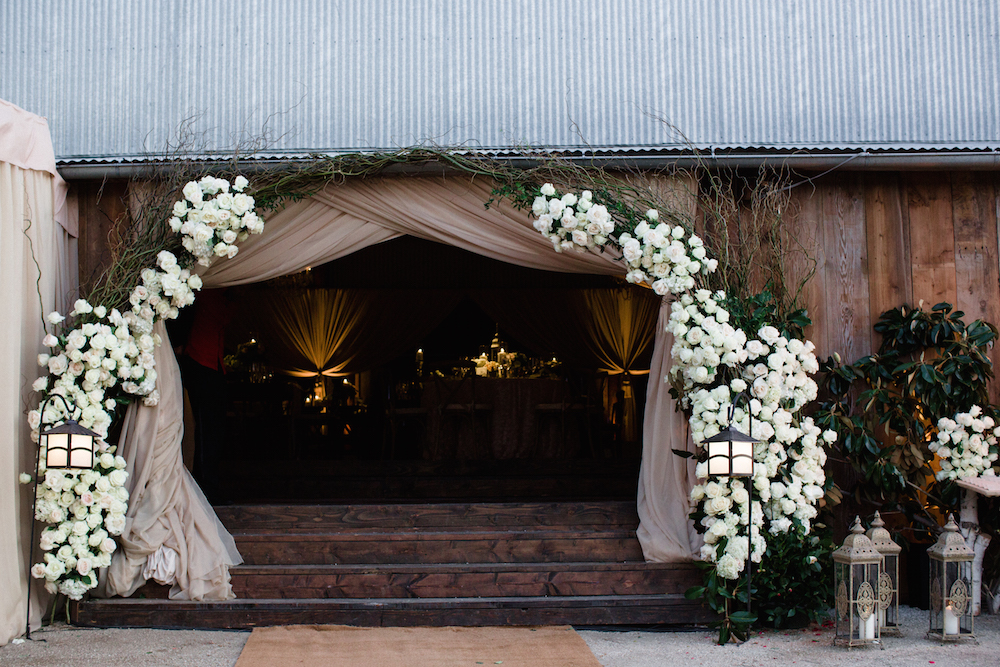 Rustic wedding reception barn entrance