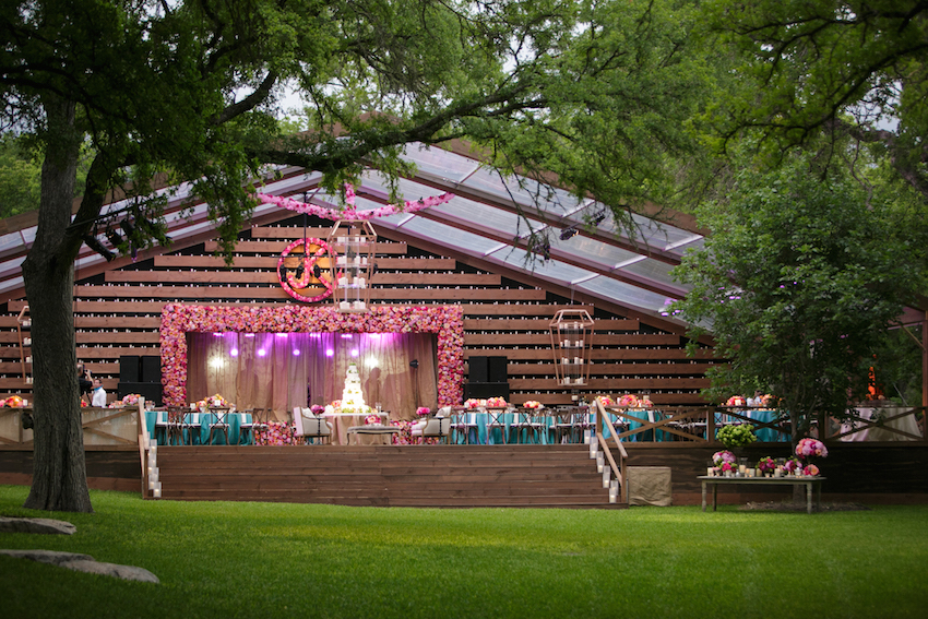 Outdoor wedding at barn on deck