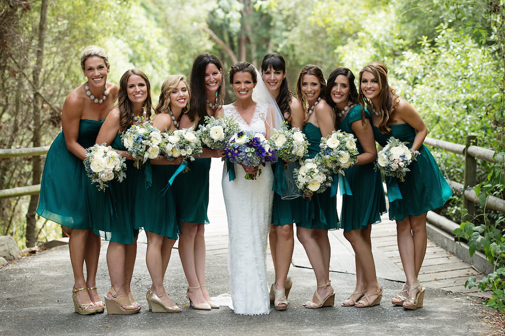 Bridesmaids different dresses same color green