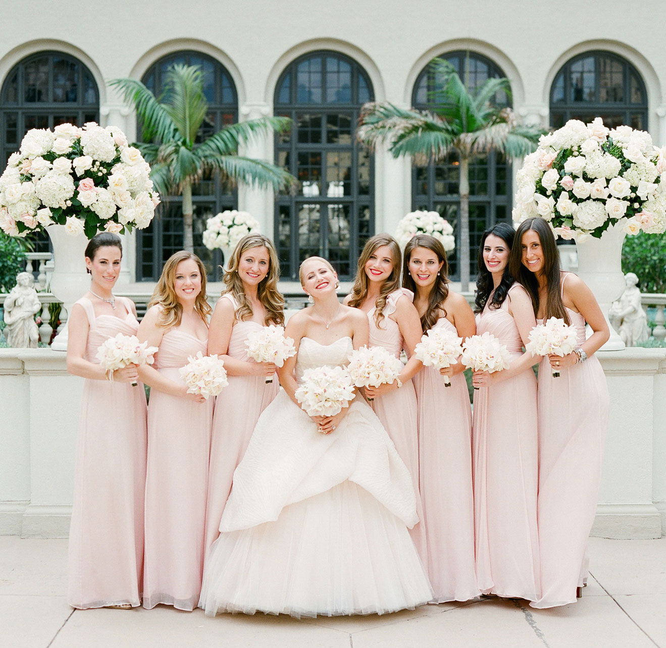 Bridesmaids different dresses same color blush