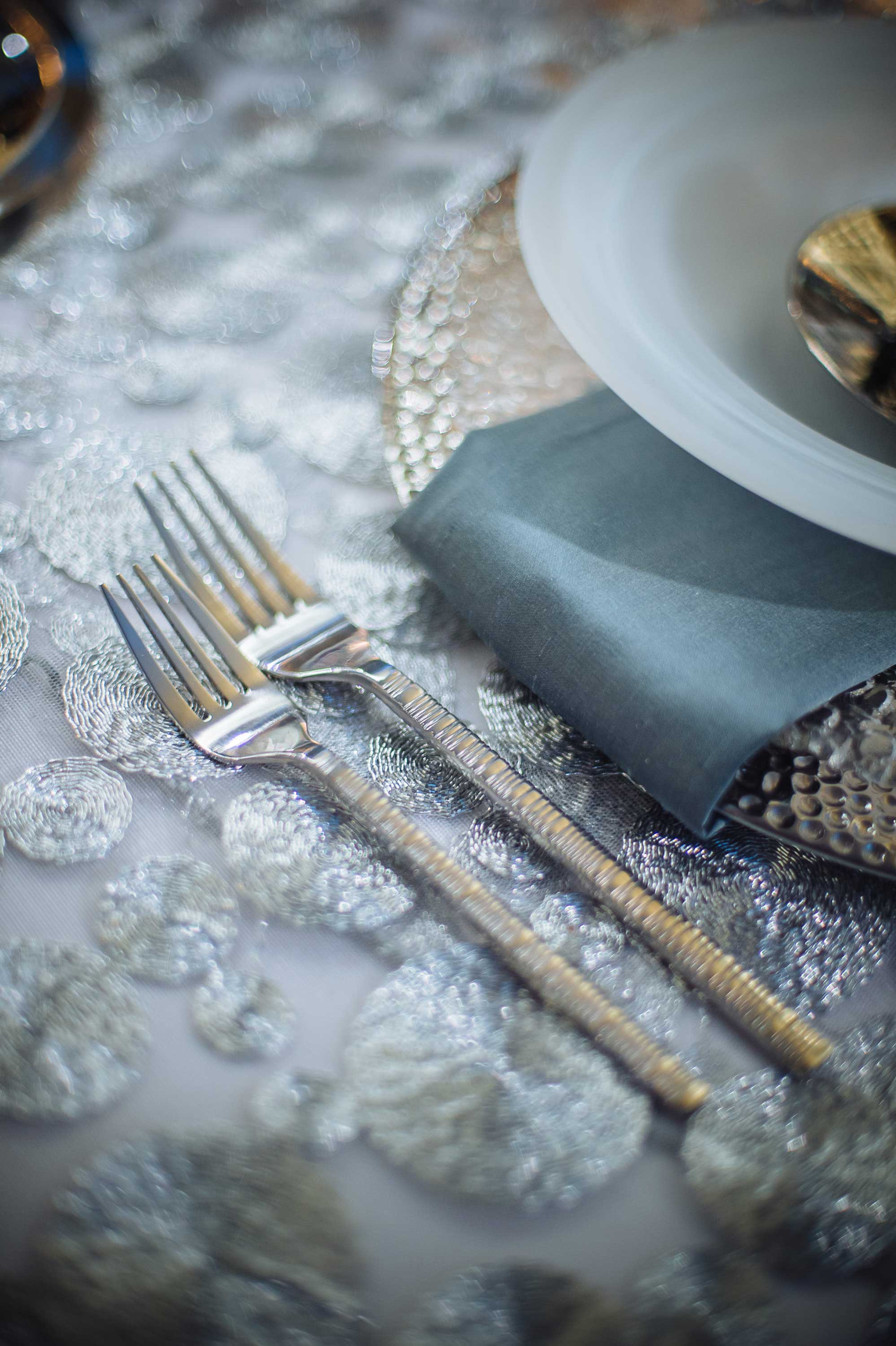 Unique silver fork for wedding table reception