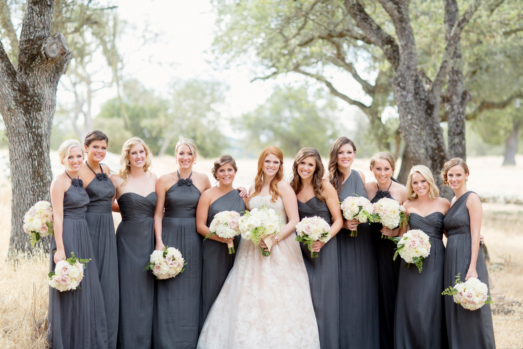 Bridesmaids different dresses same color grey