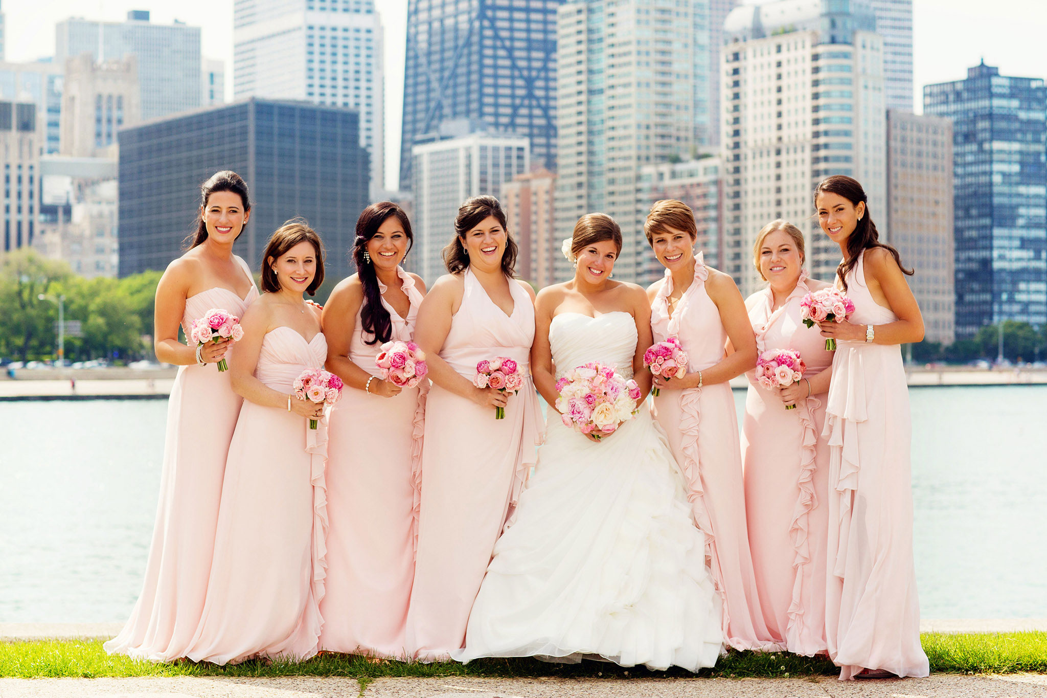 Chicago bridesmaids different dresses same color pink