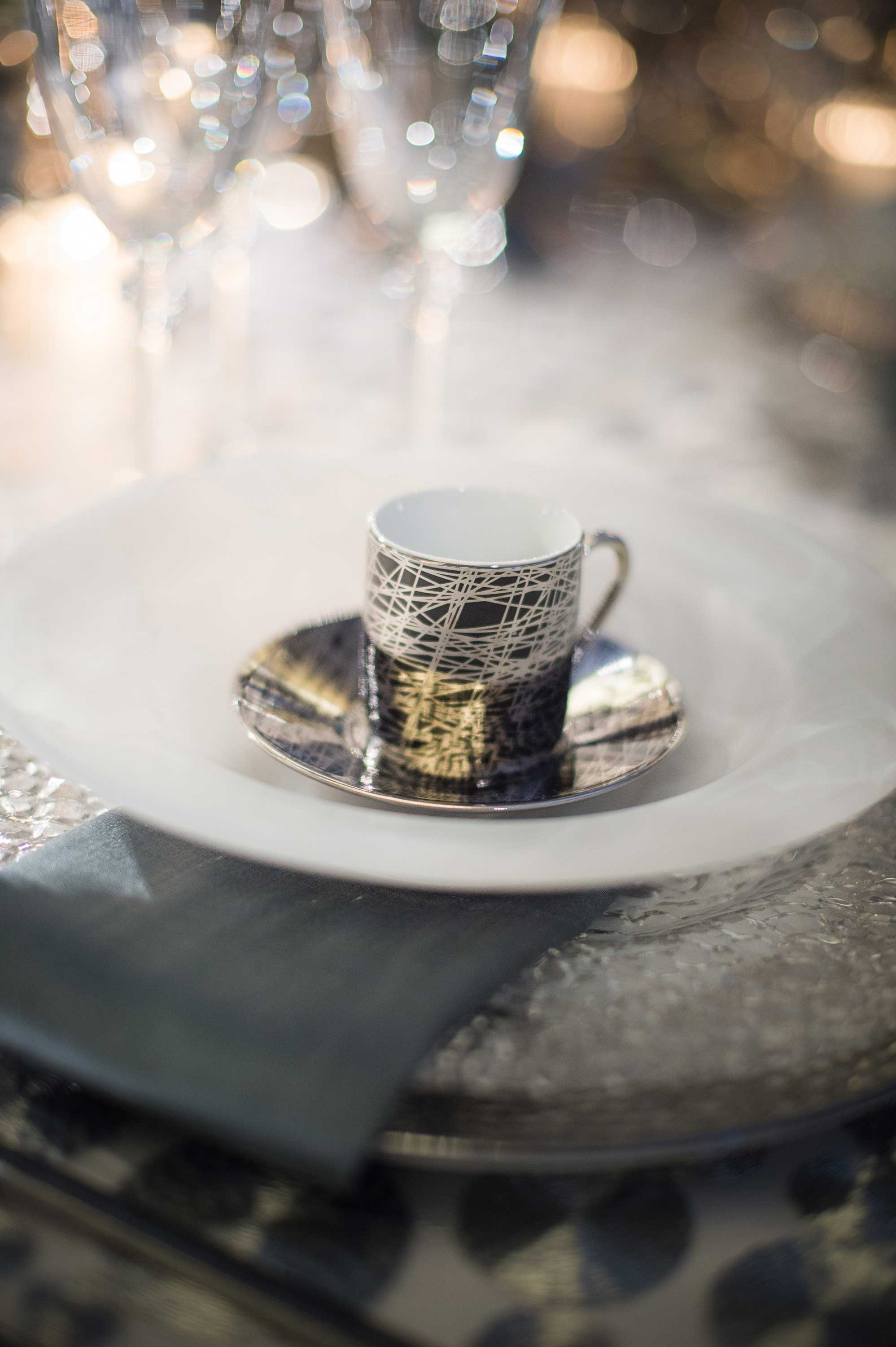 Geometric coffee or tea cup at wedding table