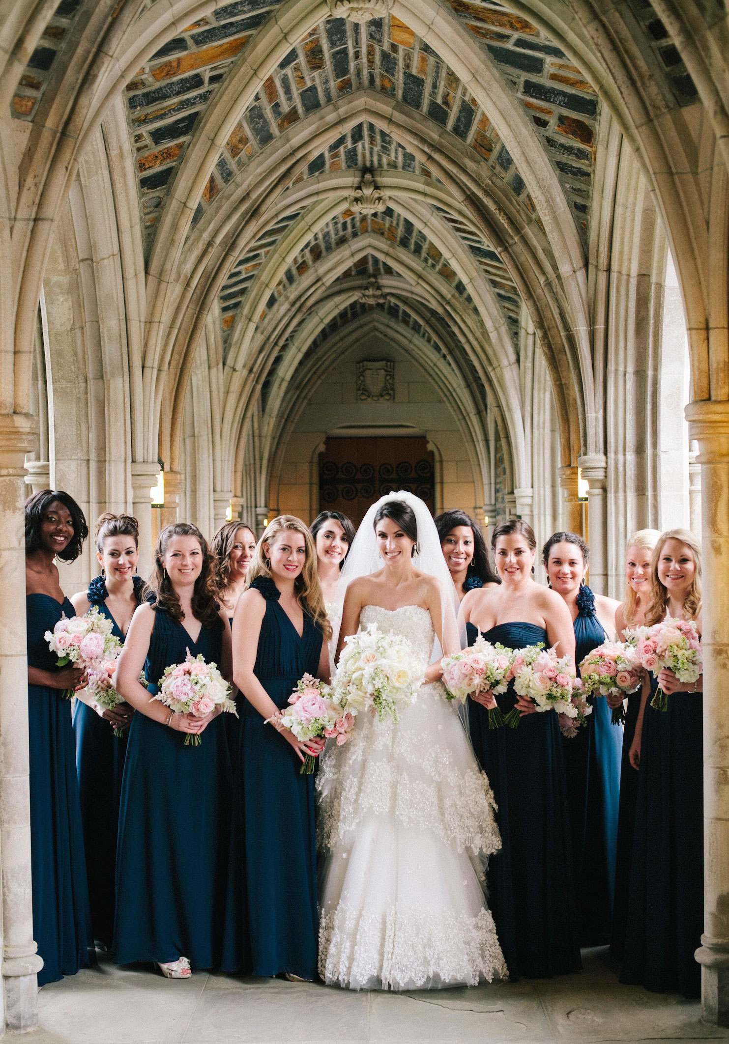 Bridesmaids different dresses same color navy blue