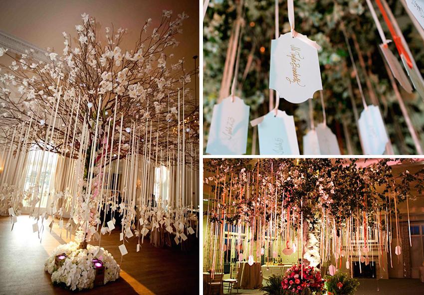 Ribbon seating card displays at weddings
