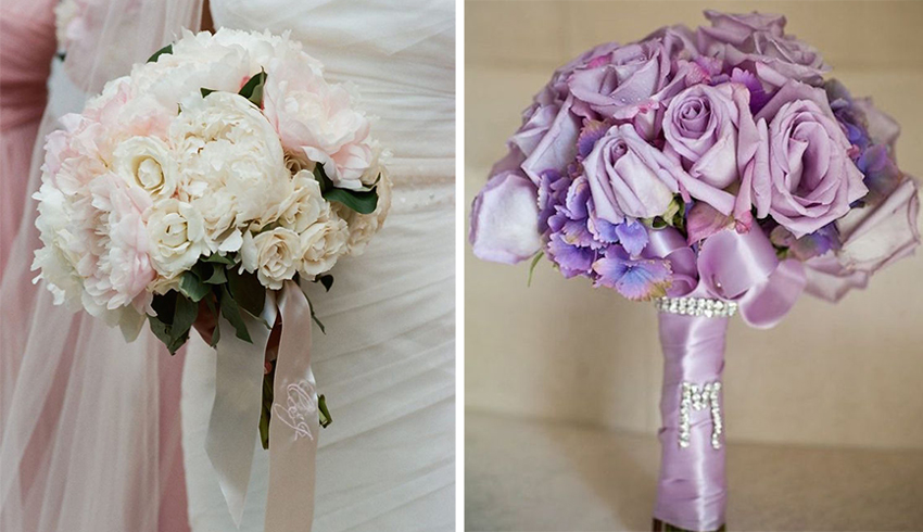Wedding bouquets with ribbon