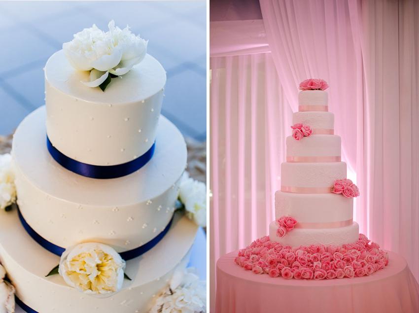 Ribbon details on wedding cakes