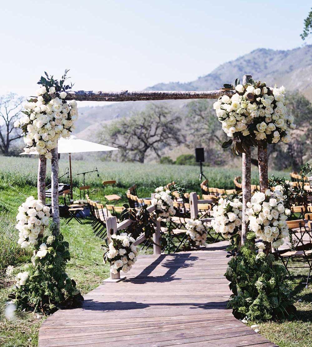 Birch branch wedding ceremony arch