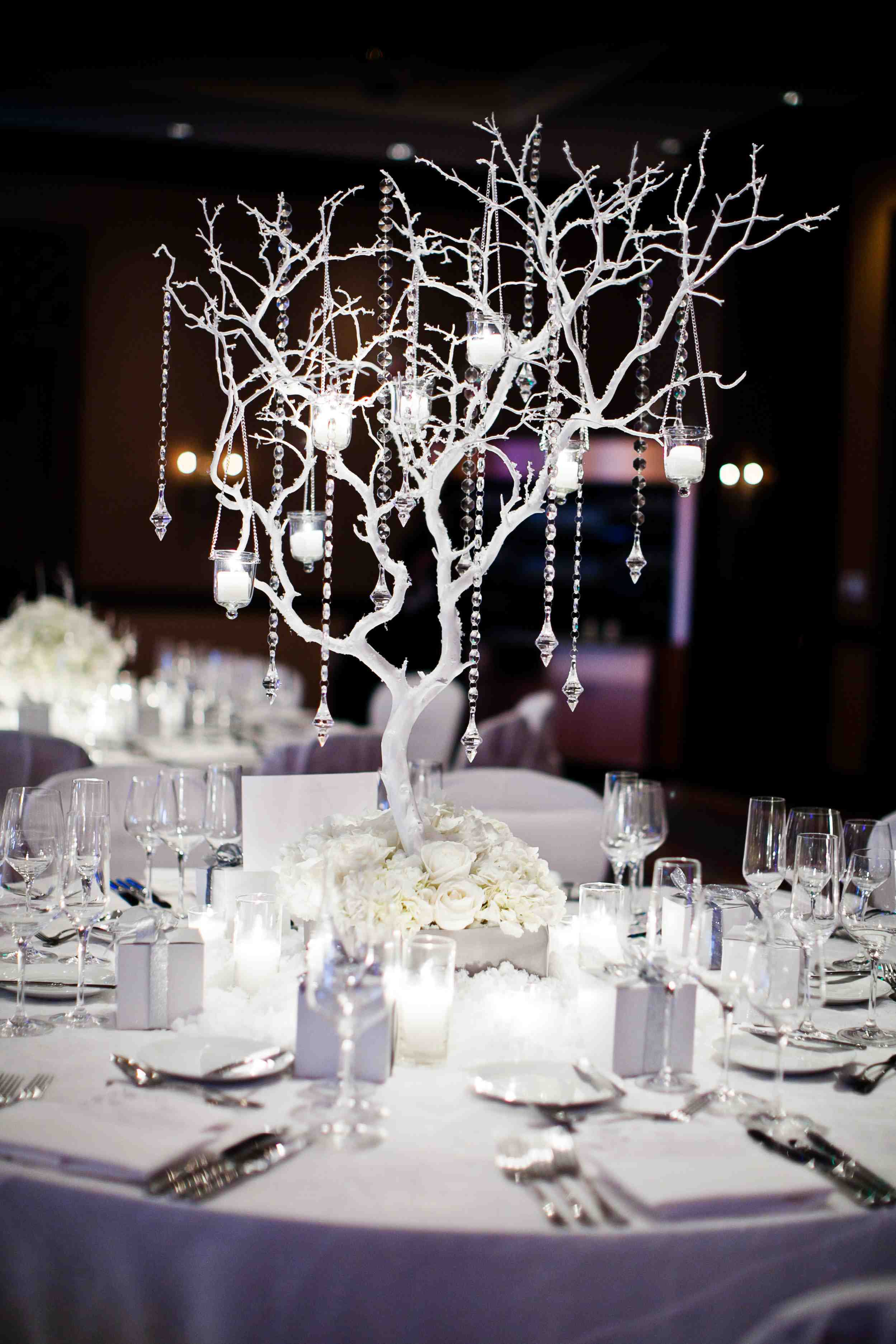 White tree branch centerpiece with crystals