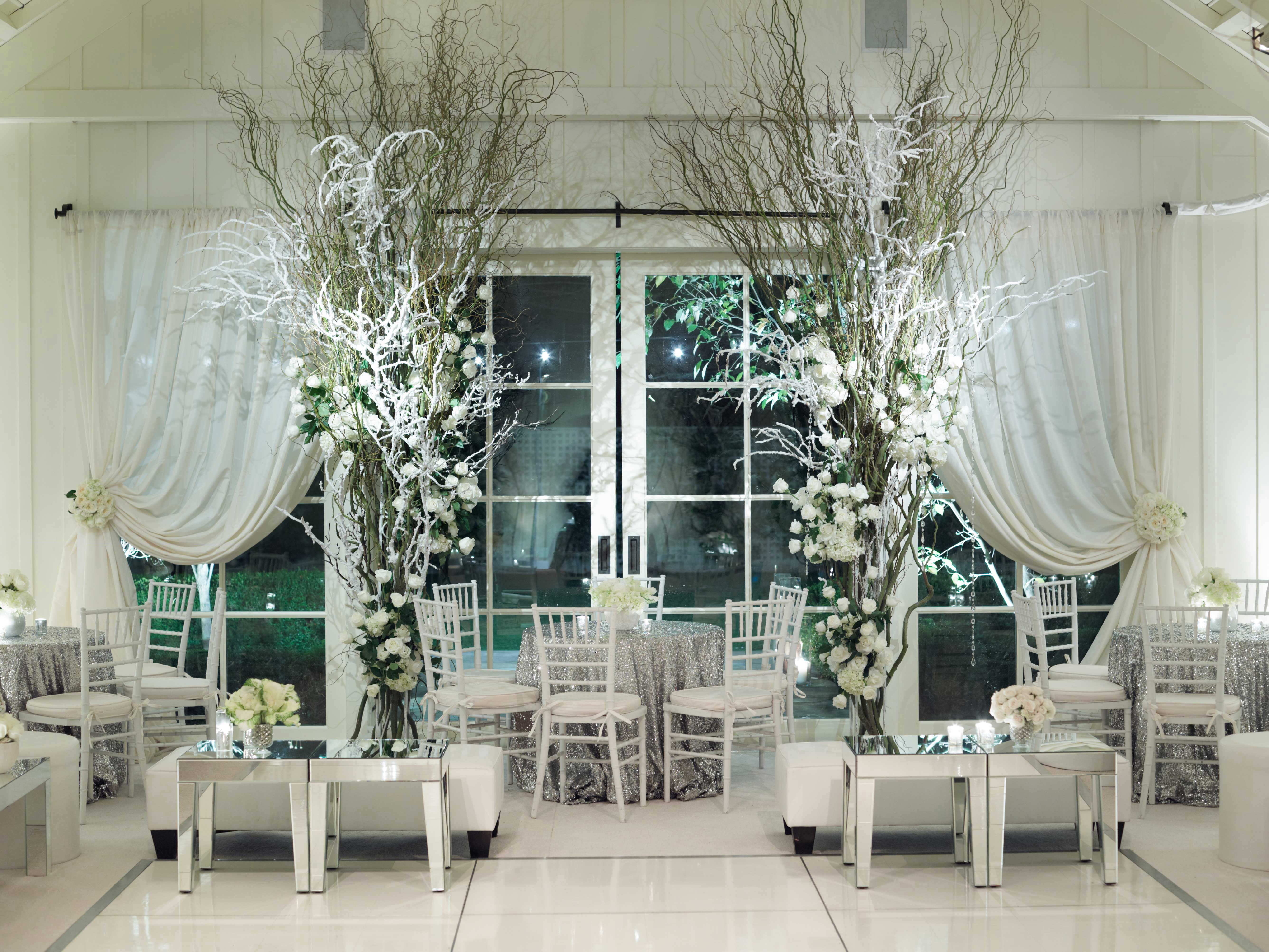White winter wedding after party decorations