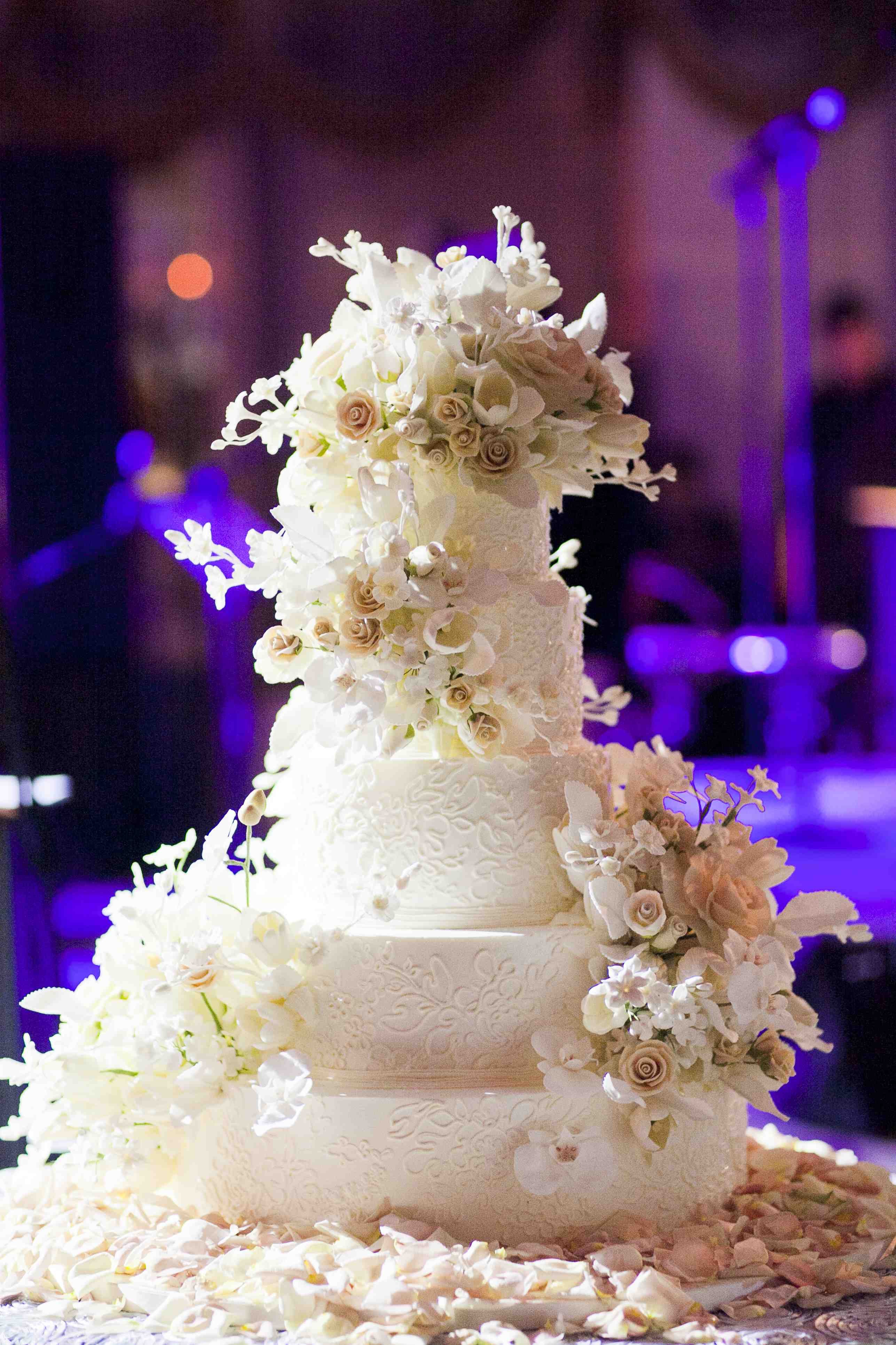 Sylvia Weinstock white wedding cake with sugar flowers
