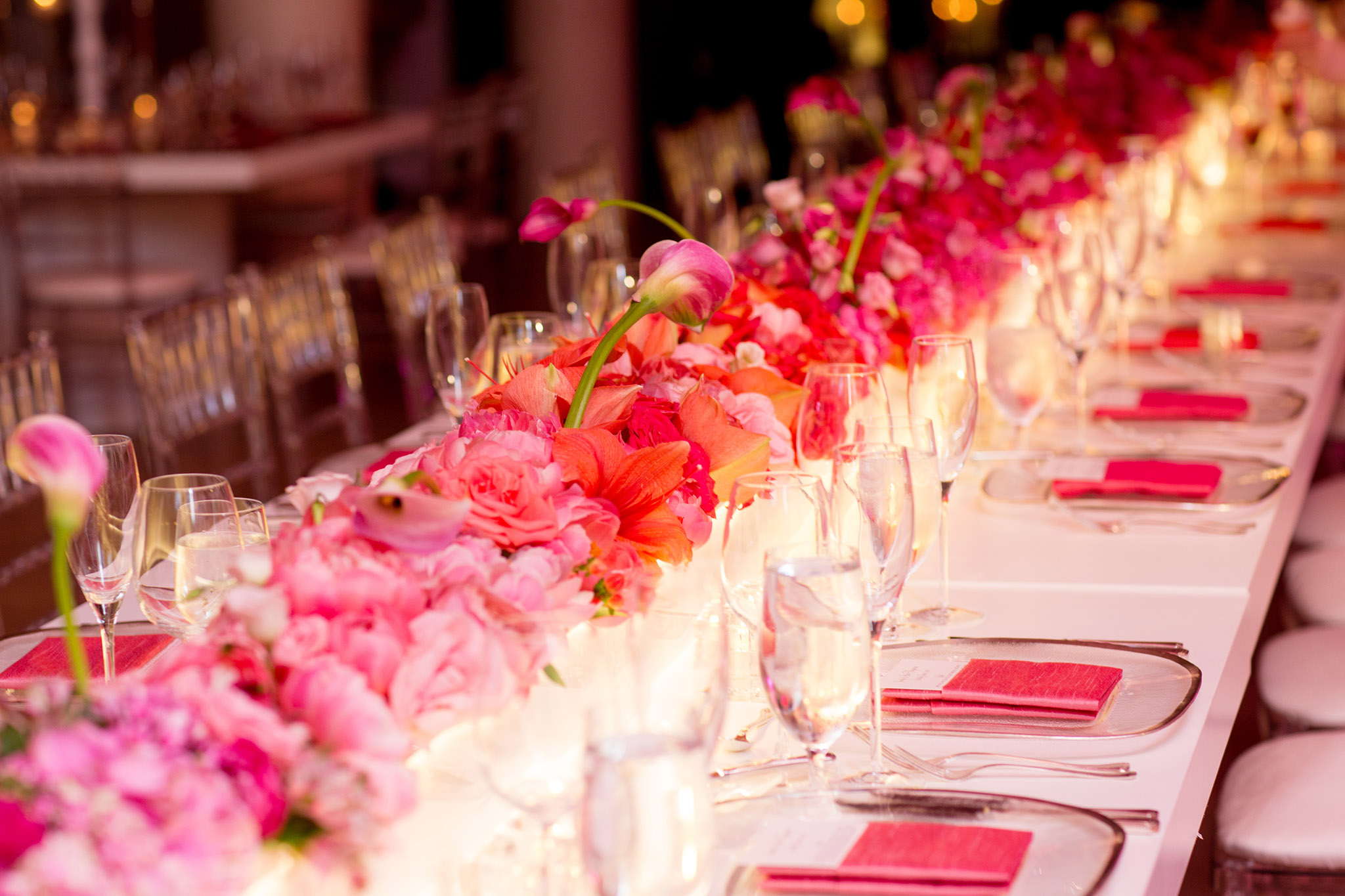 Ombre floral table runner at wedding reception