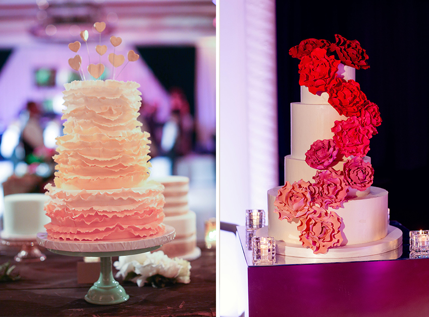 Ombre wedding cakes at wedding receptions