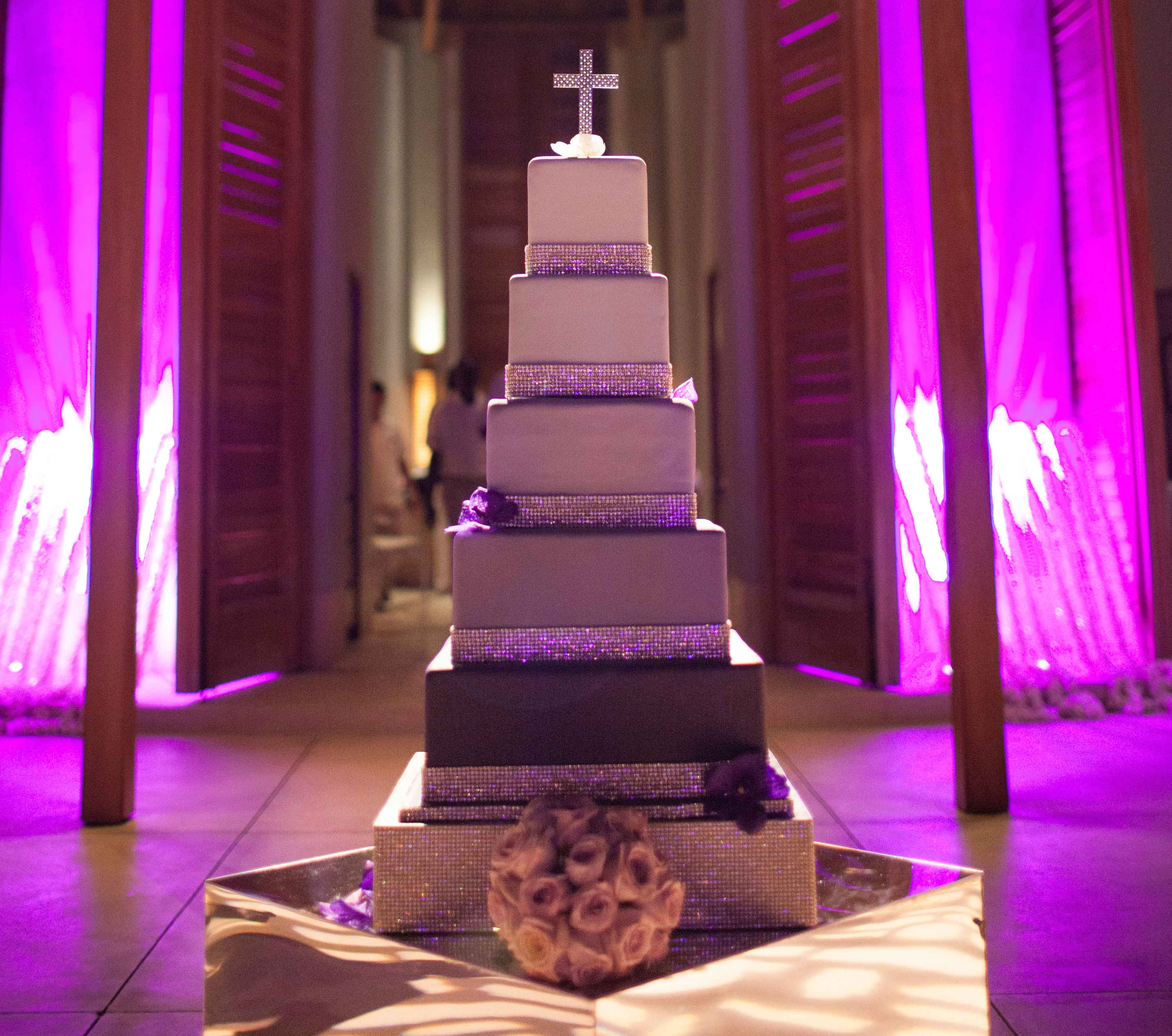 Square cake pedestal with pave crystals