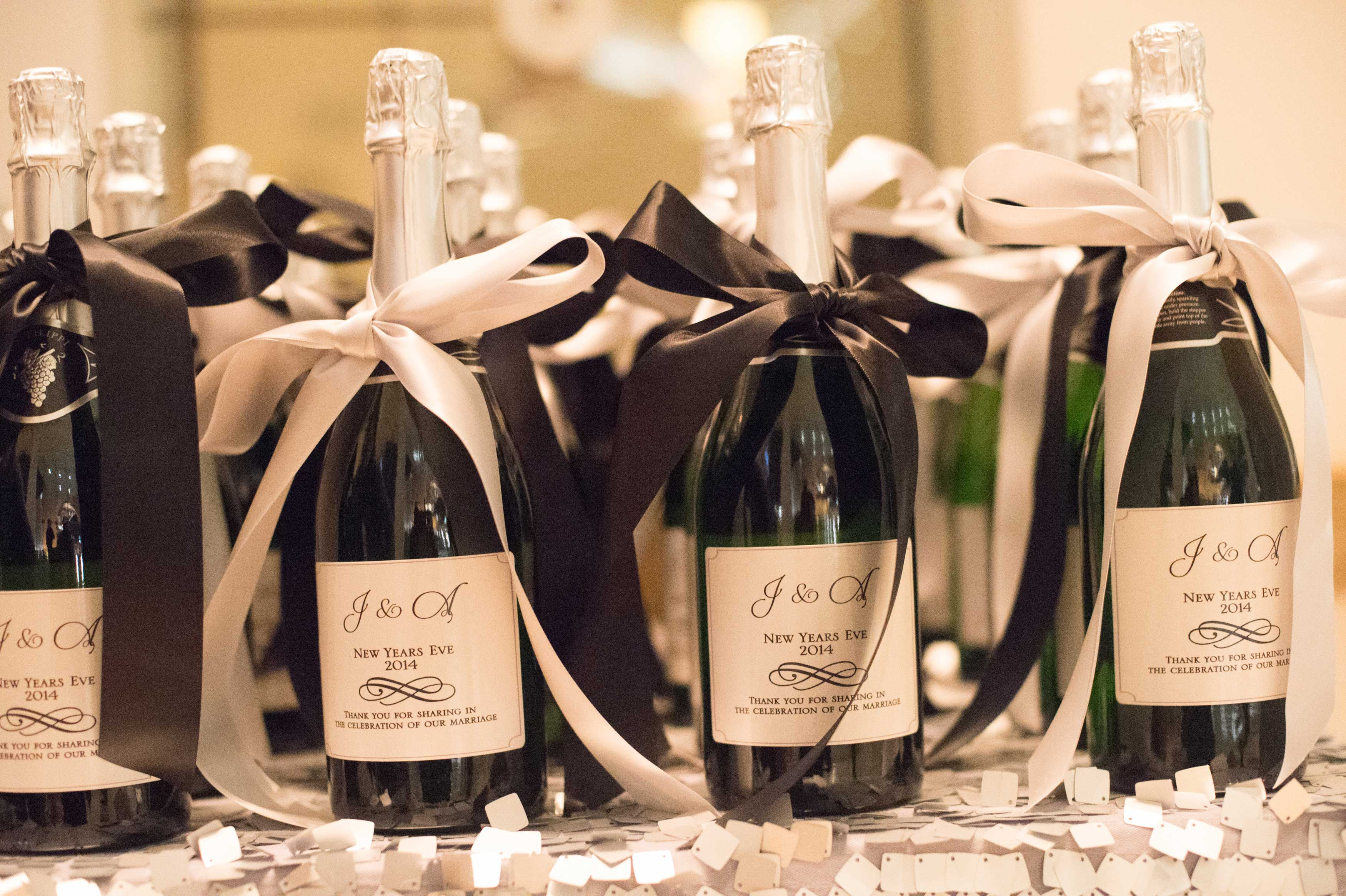 Champagne wedding favors for New Year's Eve wedding