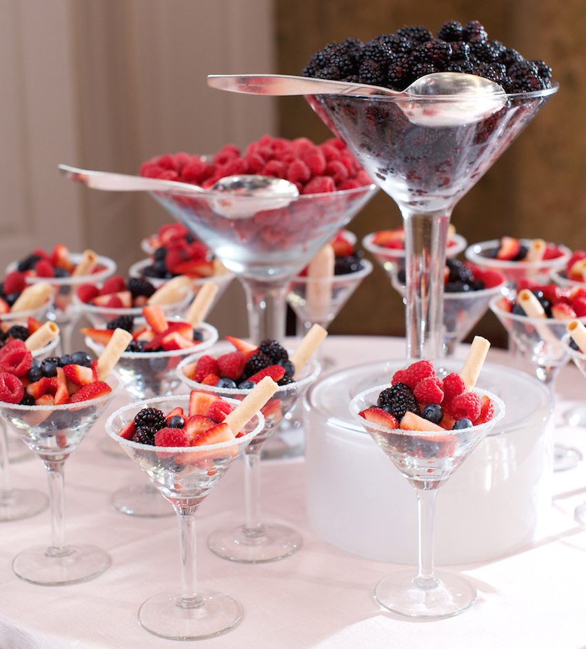 Fresh berries in martini glasses wedding dessert