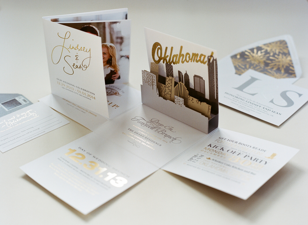 New Year's Eve wedding invitation suite
