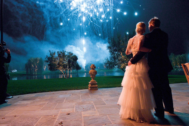 Firework show at wedding reception