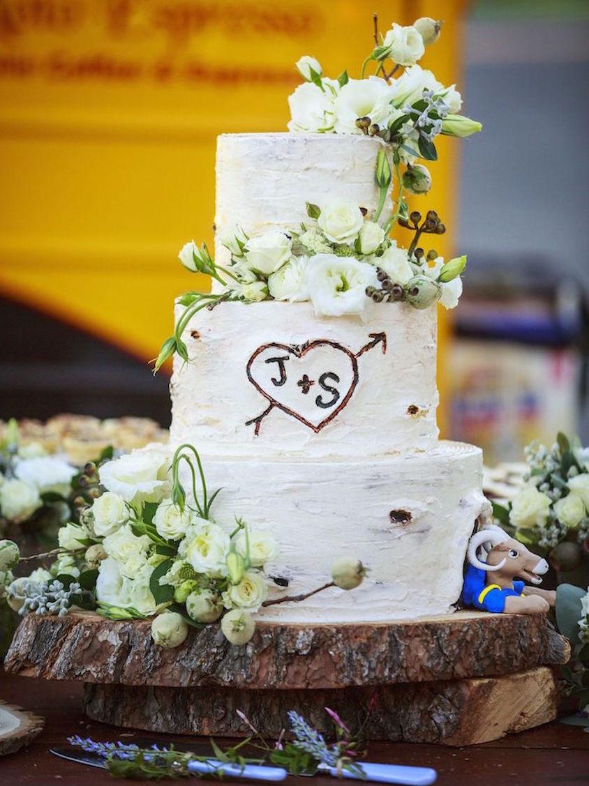 Wedding cake designed to look like birch tree