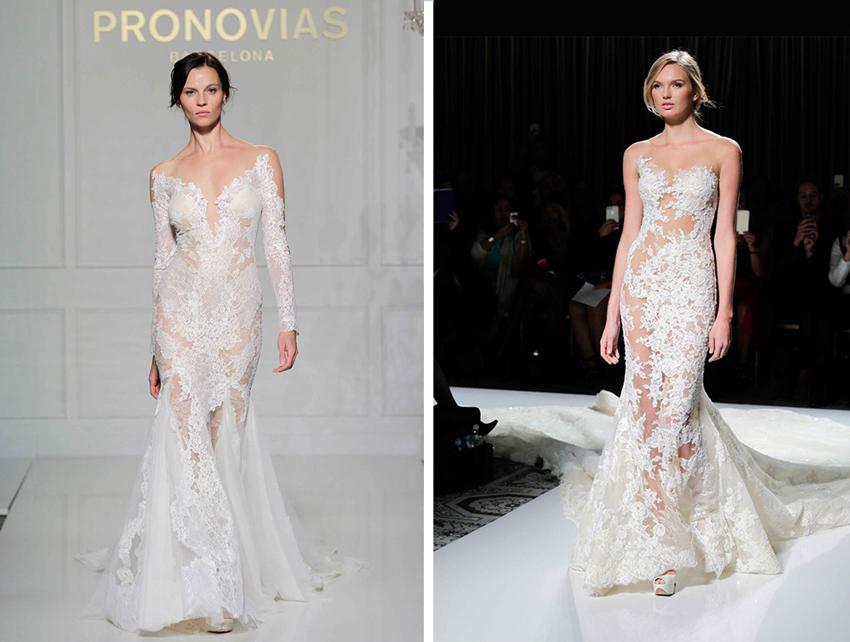 Sheer wedding dresses by Pronovias