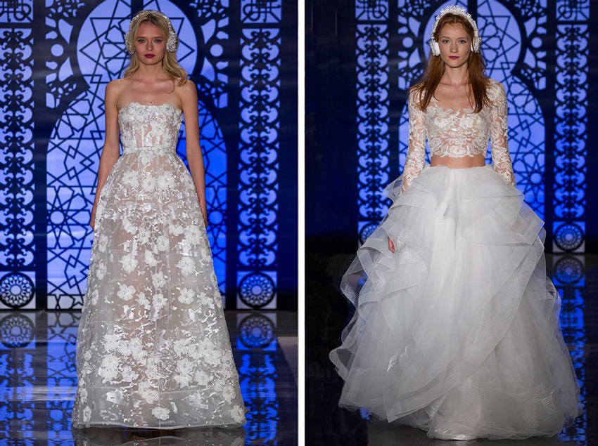 Crop top wedding dress and sheer bridal gown by Reem Acra