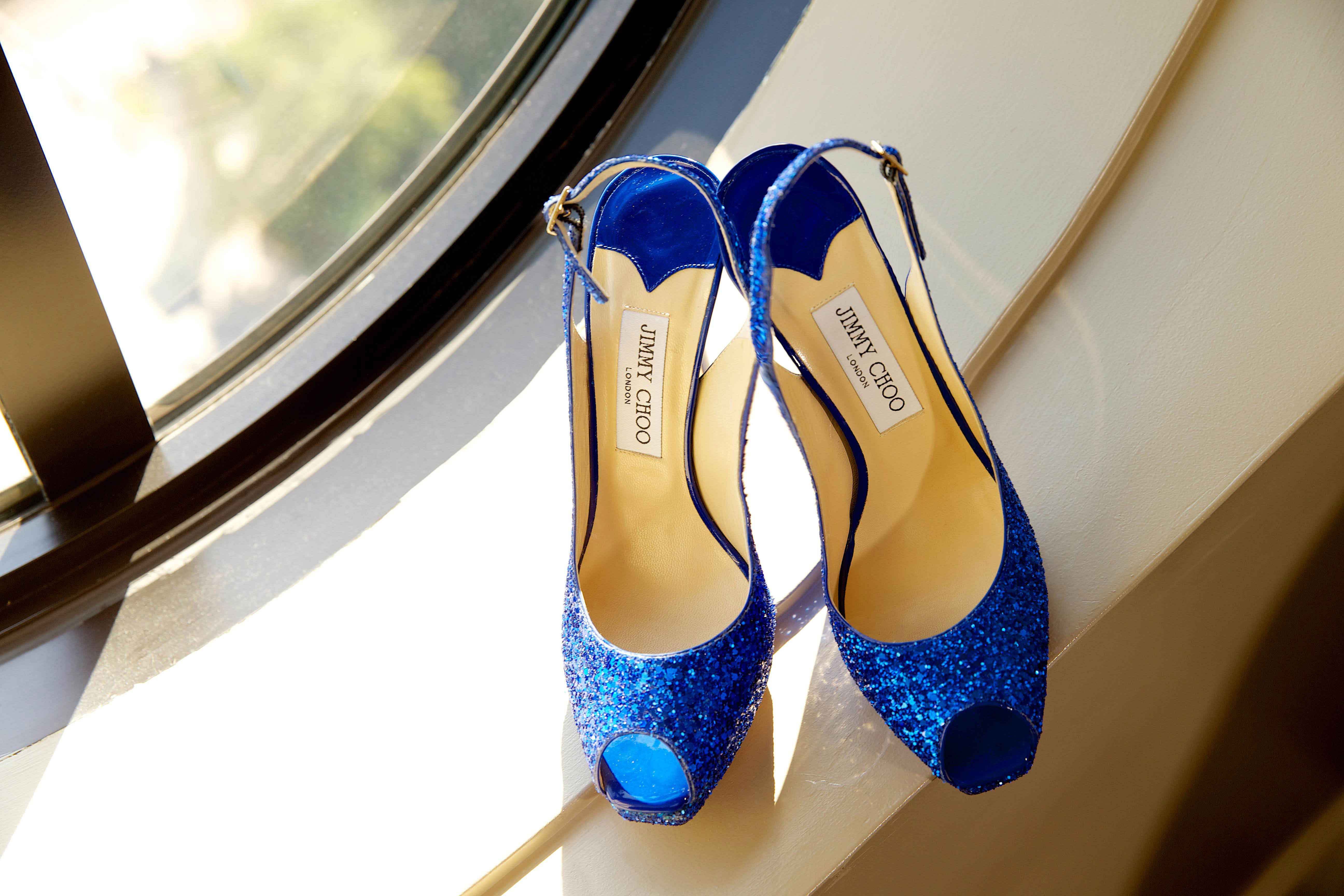 Blue glitter slingback wedding shoes