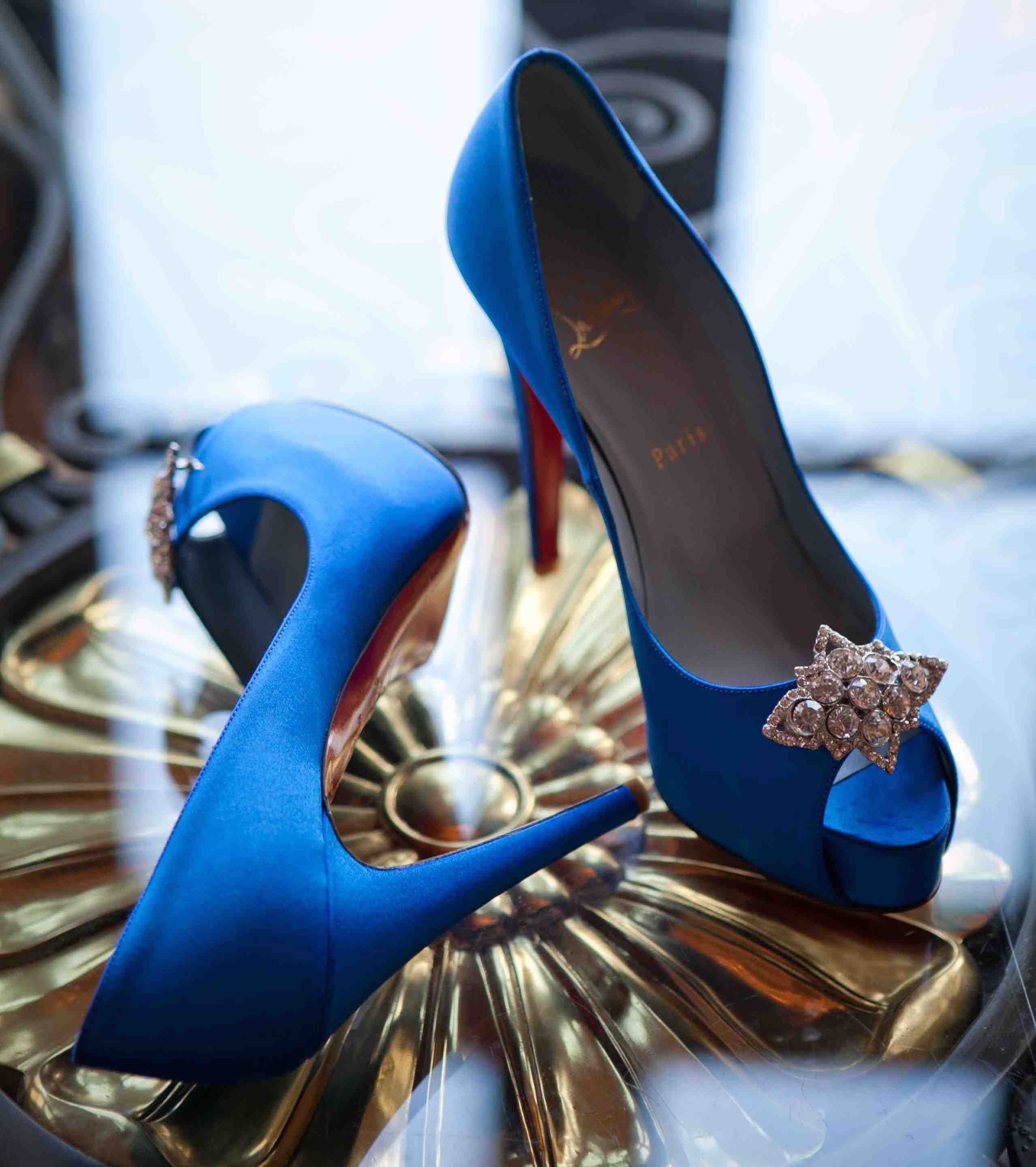 Blue peep toe wedding shoes with crystals